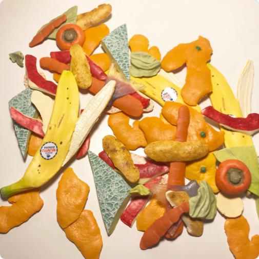 Japan fruit and vegetable peels artwork in resin by Takahiro Shibata